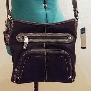☕TIGNANELLO black leather & suede crossbody bag
